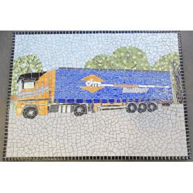Tableau en mosaïque, motif camion