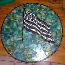 """Tableau en crackle et micro-porcelaine Sel et Poivre, motif """"drapeau breton"""""""
