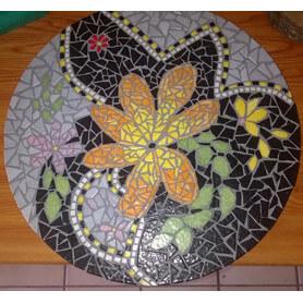 Table en émaux de Briare motif floral