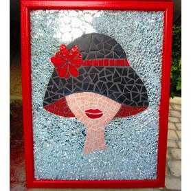Portrait de femme en Emaux de Briare et verre crackle