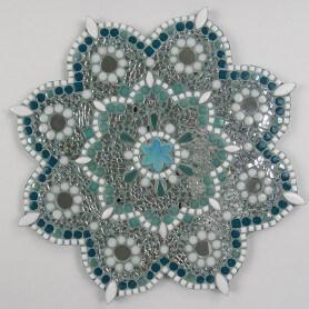 Dessous de plat Mandala en mosaique multimatériaux