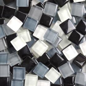Pâtes de verre translucides Cocktail Réglisse mélange de gris noir et carreaux de 1 × 1 cm