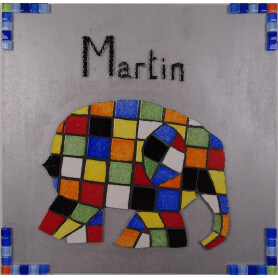 Tableau en mosaique motif Elmer