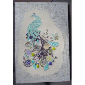 Tableau en mosaique paon bleu turquoise