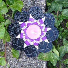 Bougeoir fleur en mosaique