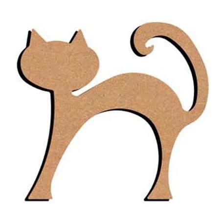 Support en Bois forme de Chat rond debout pour Mosaïque 26 cm