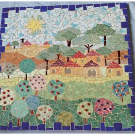Tableau en mosaique motif paysage