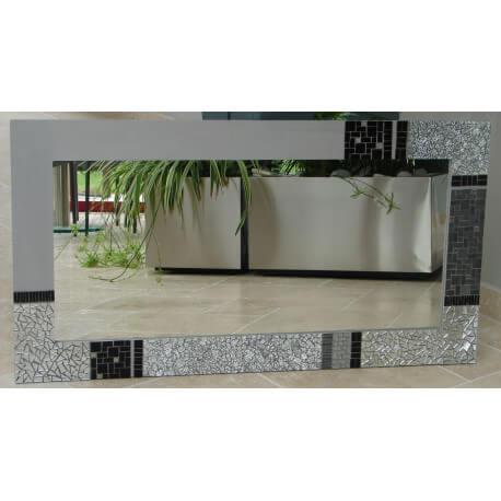 Miroir rectangle en mosaique noire et grise