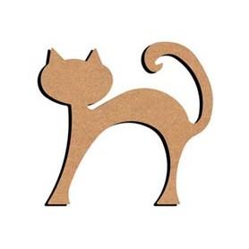 Mini support Bois forme de Chat Rond Debout pour Mosaïque 14 cm