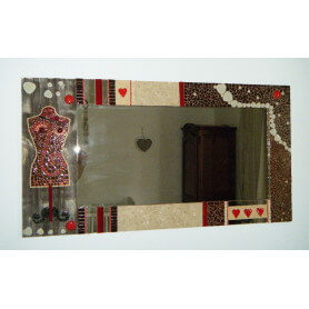 Miroir rectangle en mosaique marron et beige