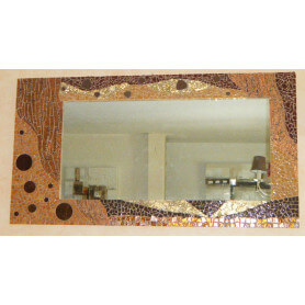 Miroir rectangle en mosaique multimatériaux