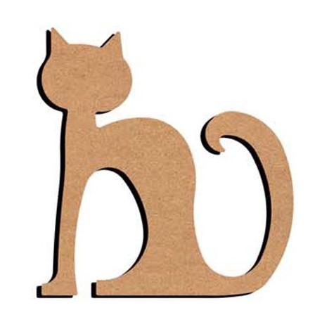 Support en Bois forme de Chat rond assis pour Mosaïque 26 cm