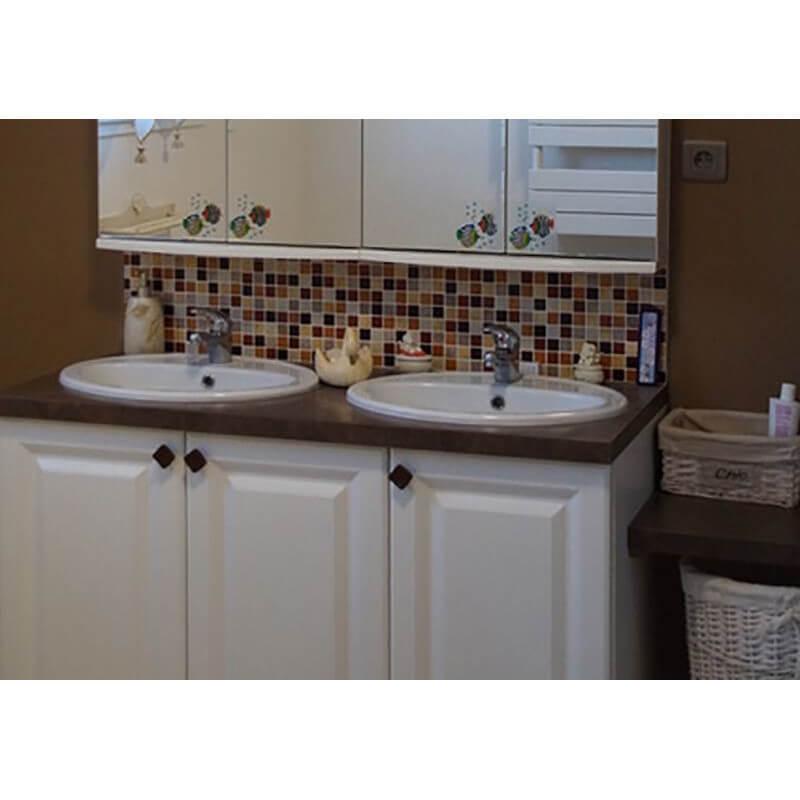 Exemple de mosa que frise salle de bains m thode sur filet avec des emaux de briare harmonie - Salle de bain frise mosaique ...
