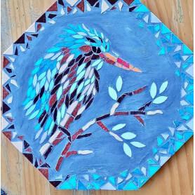 Dessous de plat en mosaique motif oiseau