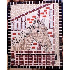 Tableau en mosaique tête de cheval