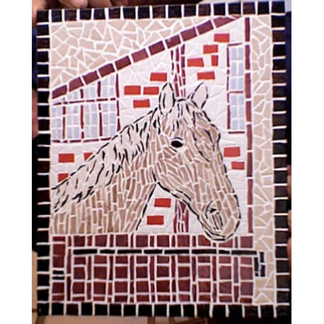 Tableau en mosaique tête de cheval marron et beige