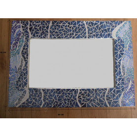 Exemple de mosaïque Miroir rectangulaire décoré avec des Emaux de Briare dans un camaïeu de bleu
