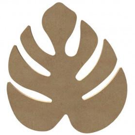 Support en Bois Forme de Feuille Jungle Monstera pour Mosaïque 26 cm