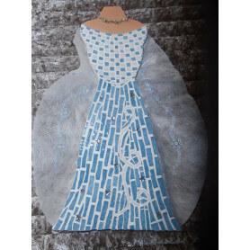 Buste en émaux de Briare bleu et blanc avec des étoiles argentées