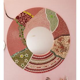 Miroir rond XL en mosaique multi-matériaux