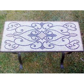 Table en mosaique émaux de briare bleus sur pieds en fer forgé