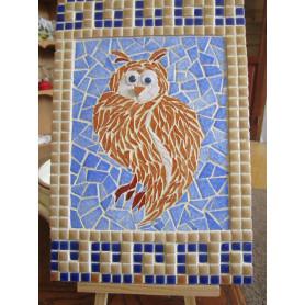 Tableau en mosaique, motif Chouette