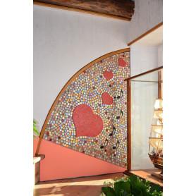 Exemple de Décor mural cœurs rouges en mosaïque créé en pâtes de verre et Emaux de Briare Harmonie