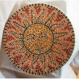 Dessous de plat Soleil en émaux de Briare Coriandre, Tuile et Cacao