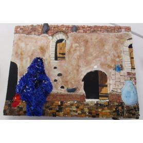 Exemple de tableau en mosaïque décoré avec un mélange de matériaux mosaïques et représentant un riad marocain