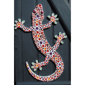 Support bois Salamandre décoré de mosaïque de verre dans les tons chauds