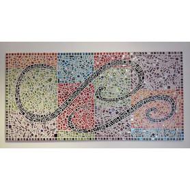 Tableau en mosaique mélange de différents matériaux billes, cabochons, miroir, émaux de Briare...