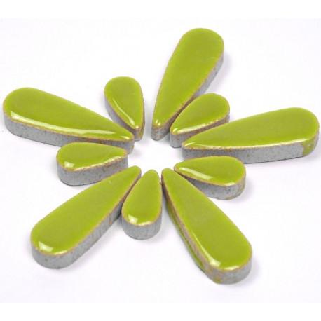Céramiques Gouttes d'eau BAMBOU vert anis émaillées pour mosaïque mélange de 2 tailles vues de profil