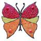 Support bois forme Papillon décoré avec des Emaux de Briare MANDARINE, PIVOINE, GENET et CACAO et des billes de verre
