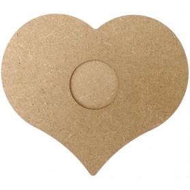 Bougeoir en Bois Forme de Cœur pour Mosaïque 14 cm vue de face