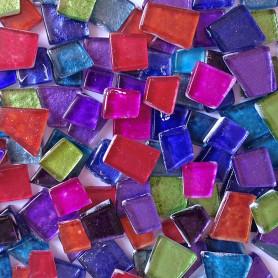 Pâtes de verre martelées cocktail multicolore vendues par 200 g