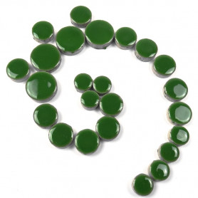 Céramiques Pastilles EUCALYPTUS vert foncé émaillées et brillantes pour mosaïque