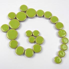Céramiques Pastilles BAMBOU vert anis émaillées et brillantes pour mosaïque