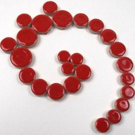 Céramiques Pastilles COQUELICOT rouge vif émaillées et brillantes pour mosaïque