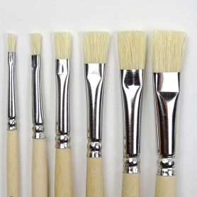 Lot de 6 pinceaux en soie naturelle de 6 largeurs différentes pour peinture et verni des supports en bois pour mosaïque (zoom)