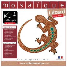 Kit Mosaïque Support bois Lézard décoré avec des Emaux de Briare dans les tons marrons et des galets japonais verts