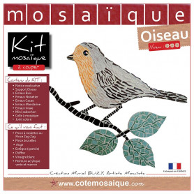 Kit Mosaïque Support bois Oiseau sur sa branche décoré avec des Emaux de Briare dans des tons gris, jaunes et verts