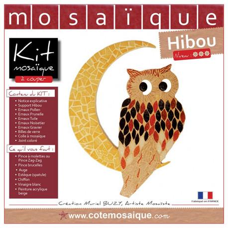 Kit Mosaïque Support bois Hibou décoré avec des Emaux de Briare dans les tons jaunes, rouges et marrons
