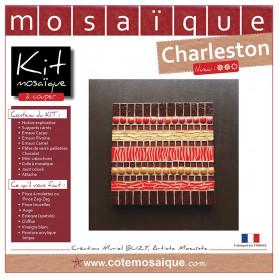 Kit Mosaïque 2 Tableaux carrés décorés avec des Emaux de Briare, des pâtes de verre pailletées et des mini-cabochons