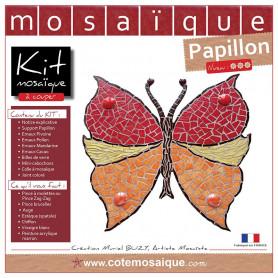 Kit Mosaïque Support bois Papillon décoré avec des Emaux de Briare rouges, jaunes, oranges et marrons et des billes de verre