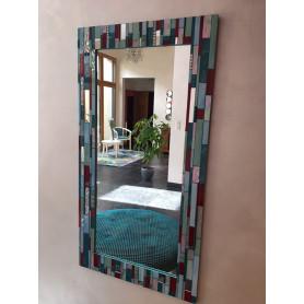 Exemple de mosaïque Miroir rectangulaire décoré avec des plaques, tiges et pâtes de verre représentant une bayadère