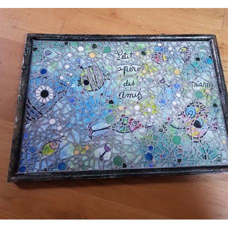 Tableau décoré en mosaique motif poissons