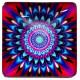 Joli carré motif Mandala de couleur rouge et bleu 2,5 x 2,5 cm