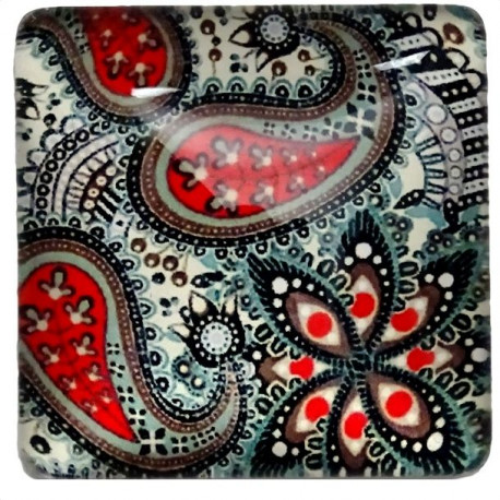 Joli motif Cachemire de couleur rouge et noir 2,5 x 2,5 cm