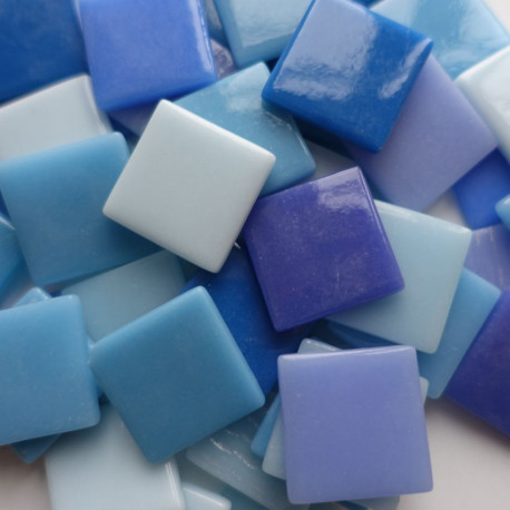 Pâtes de verre espagnoles unies bleues de 2,5 × 2,5 cm