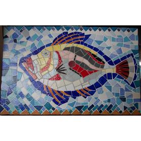 Exemple de tableau poisson en mosaïque décoré avec des Emaux de Briare, du miroir, des précieux et des mini-cabochons